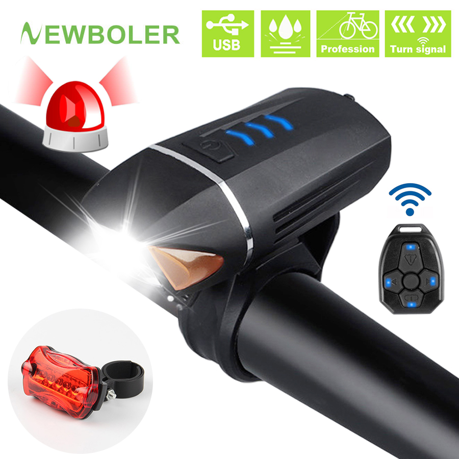 NEWBOLER 350 Lumen Bicycle Flashlight Anti-theft Bike Front Light Turn Signal USB Rechargeable LED Lamp Cycle Horn MTB Headlight