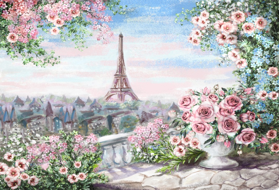Us 3 69 23 Off Laeacco Photo Backdrops Eiffel Tower Oil Painting Watercolor Flower Wallpaper Pattern Photo Backgrounds Photocall Photo Studio In