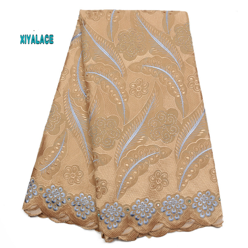 African Lace Fabric 2019 High Quality Nigerian Lace Fabrics Embroidery French Tulle Lace With Stones Fabric YA1925B-1