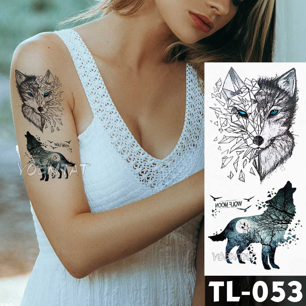 Geometria Linha lobo lua Tatuagem Temporária de Transferência da água Adesivo Escuro Padrão fresco da arte do corpo À Prova D' Água Falso Tattoo Flash para homens