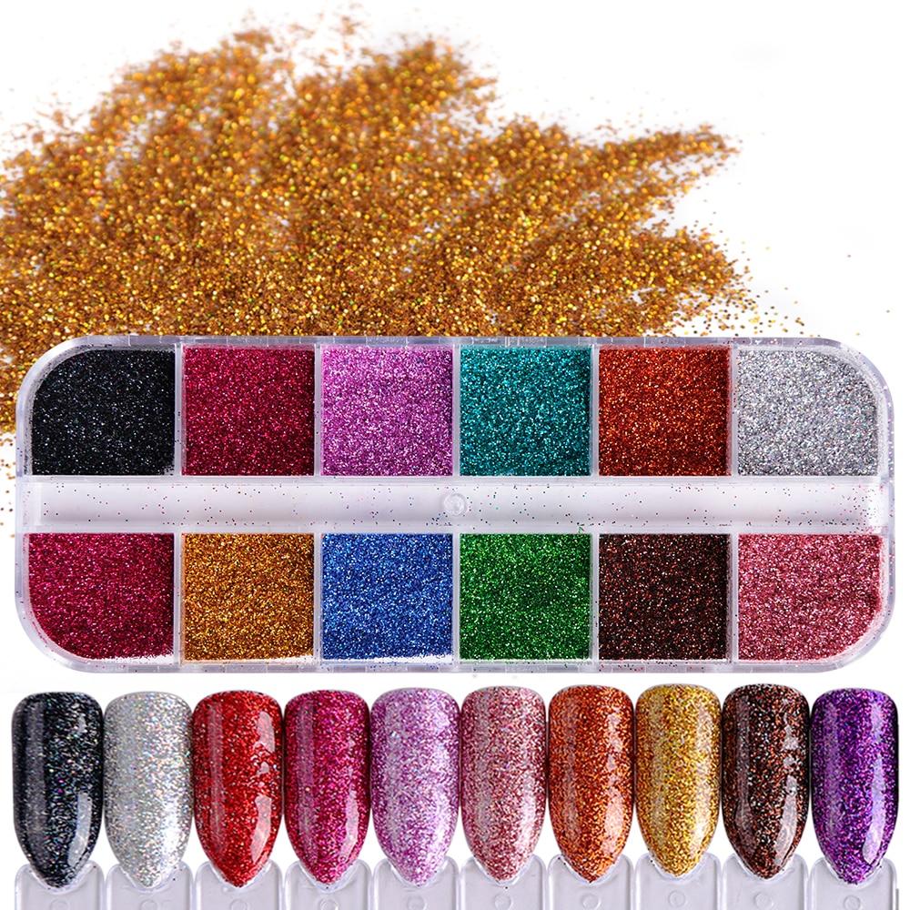 Extra Fine Holographic Chrome Nail Art Powder: 1 Set Shiny Laser Glitter Nail Powder Chrome Pigments Dust