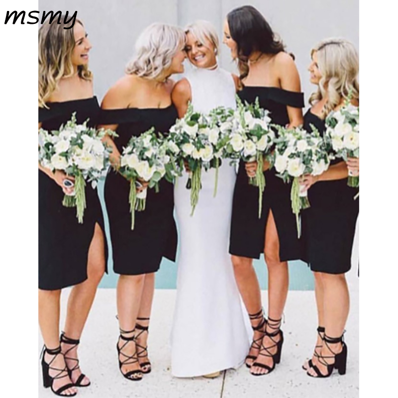 New Simple Sheath Black   Bridesmaid     Dresses   Off Shoulder Cheap Knee Length New   Bridesmaid     Dresses   Custom Made
