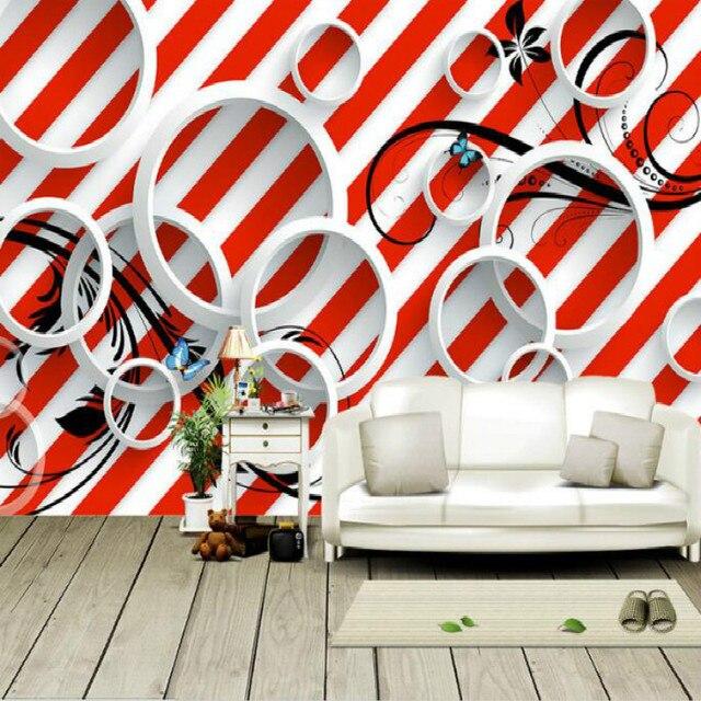 En Trois Dimensions Cercle Rouge Rayures Noir Motif Grand Peintures Murales  De Papier Peint Salon Chambre