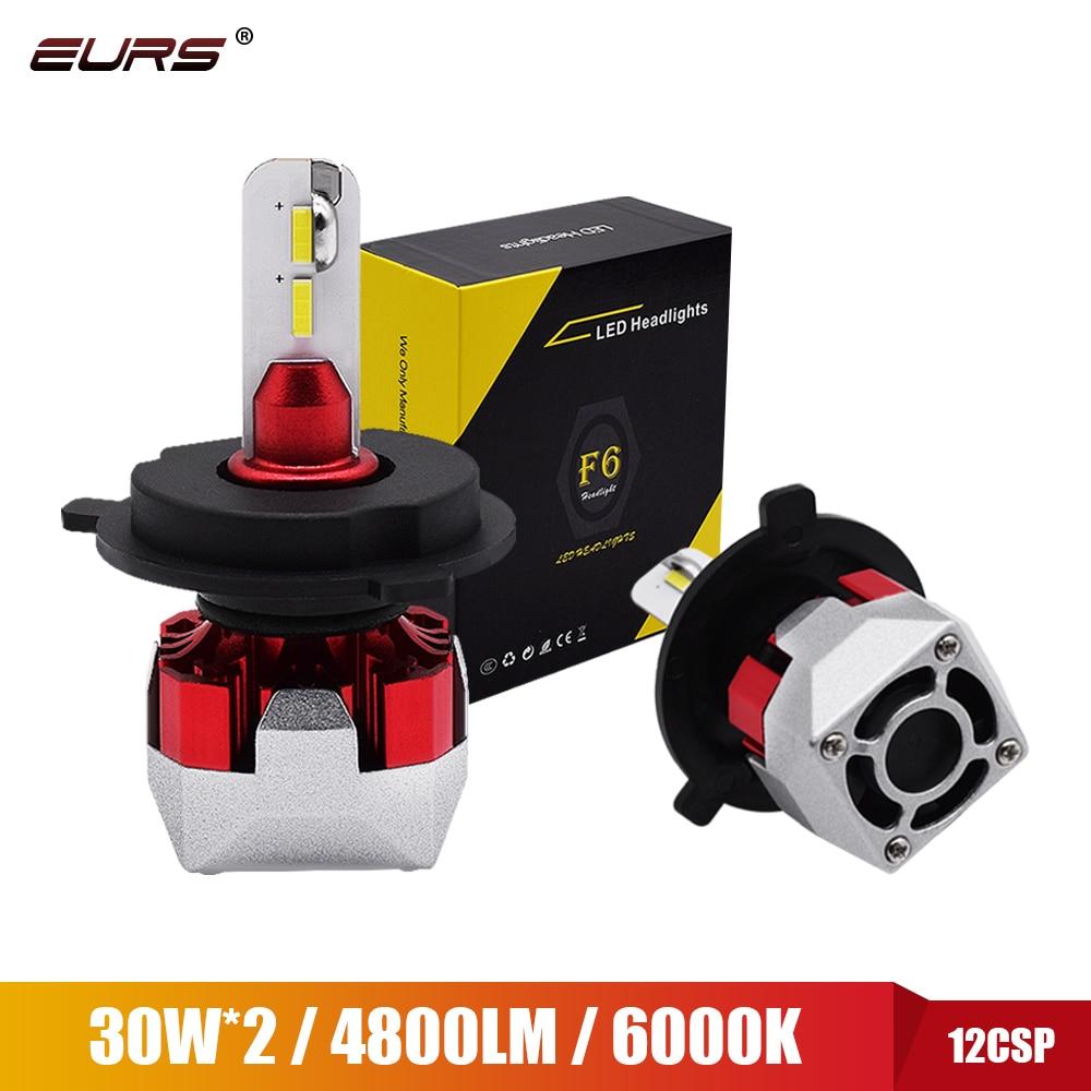 EURS 6000K 12 * CSP 2 шт. Мини светодиодный H4 H7 светодиодный H11 H1 авто светодиодный лампы 12V/24v 9600LM 60 Вт 9005 9006 HB3 светодиодный Hb4 противотуманные автомоб...