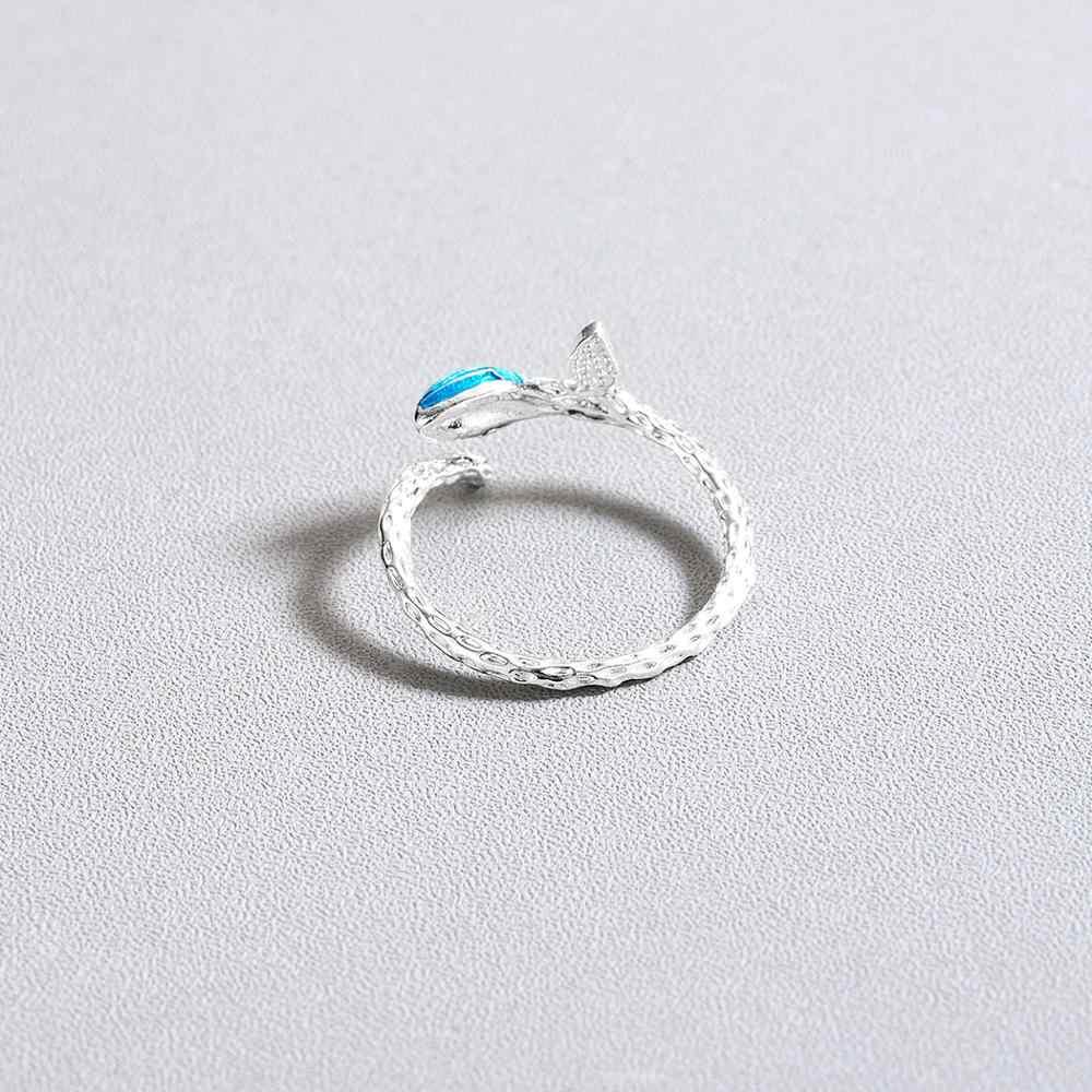 Todorova Retro Enamel Blue Leaf สาขาเปิดแหวนปรับขนาดได้หมั้นแหวน DropShipping