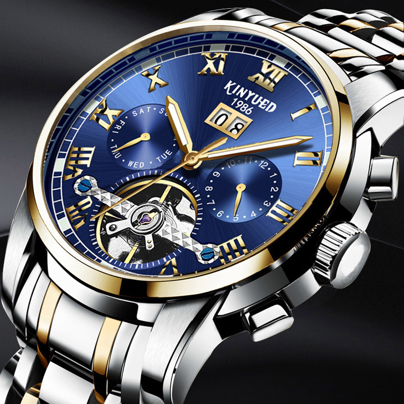 New 2018 Luxury Men's Watches Ocean Blue Sapphire Tourbillon Automatic Watches Men Famous Top Brand KINYUED Mechanical Watches-in Mechanical Watches from Watches    1