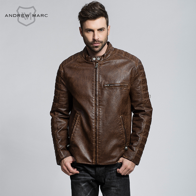 MARC NEW YORK ANDREW MARC 2016  Winter New Men PU Leather Jacket Motorcycle Slim  Biker Jackets Coat S-XXL TM6AP189