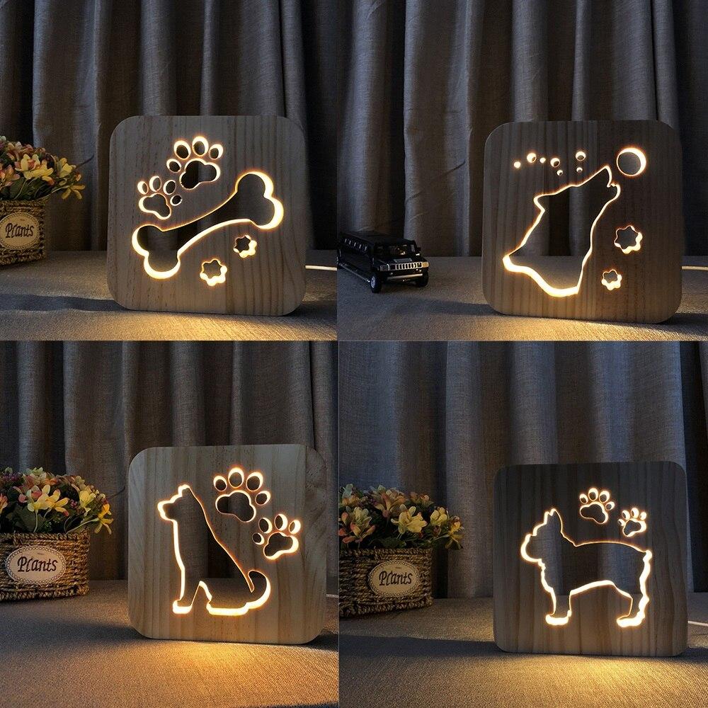 madeira Lâmpada Luminaria 3D USB Alimentado Luzes