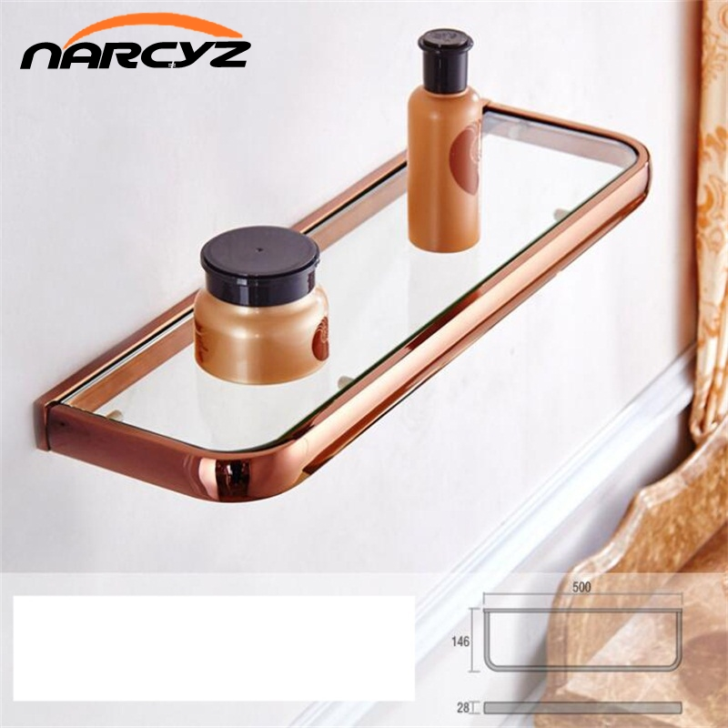 Bathroom Shelves Solid Brass Single Tier Glass Shelf Storage Cosmetics Shelf Wall Mout Bathroom Accessories Glass Holder 9117K 1pcs adjustable brush finish metal shelf holder support clamp for bathroom wall glass shelves panel
