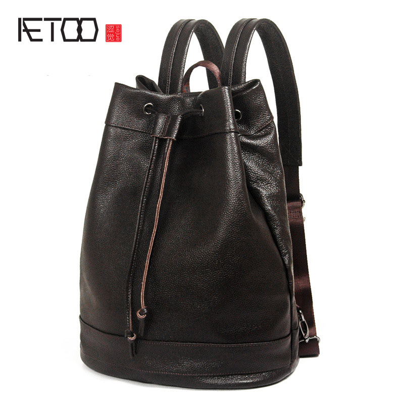 AETOO Leather shoulder bag men bag Korean fashion first layer leather backpack leisure bag travel bag men s leather oblique cross chest packs of the first layer of leather deer pattern men s shoulder bag korean fashion men s bag