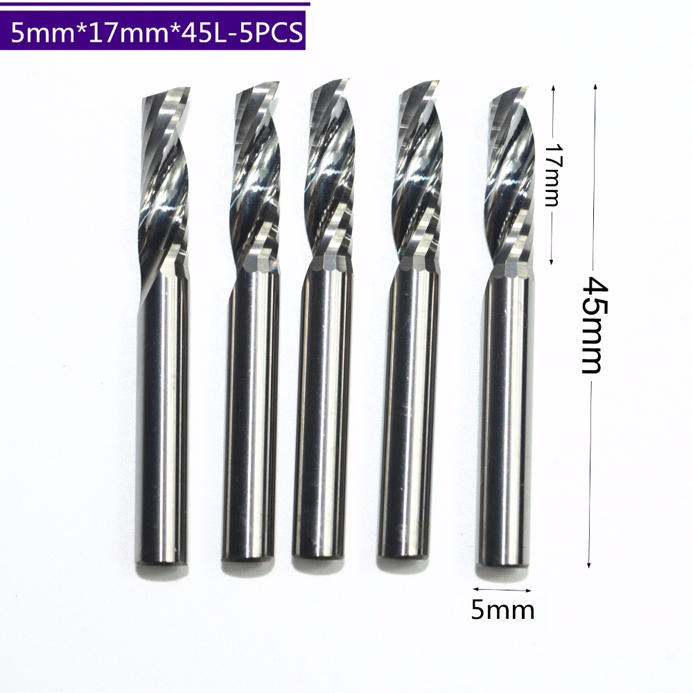 5mm 17mm 5pcs freeshipping CNC machine tool Tungsten Solid carbide milling cutter 1 flute end mill