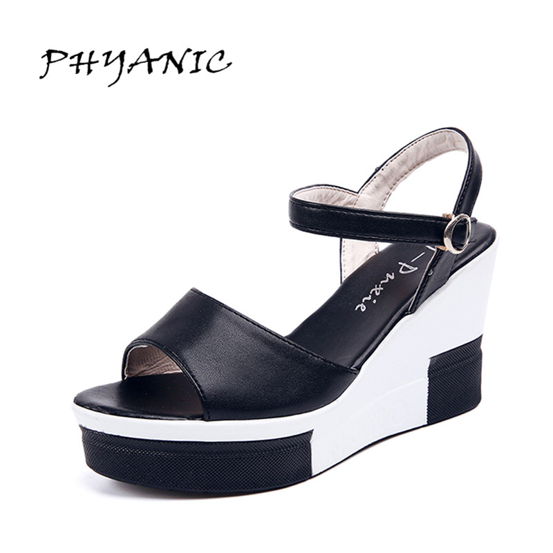 PHYANIC 2017 Summer Shoes Woman Platform Sandals Women Soft Leather Casual Open Toe Gladiator Wedges Women Shoes Zapatos Mujer phyanic 2017 gladiator sandals gold silver shoes woman summer platform wedges glitters creepers casual women shoes phy3323