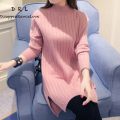 Autumn and winter women thickening sweater outerwear medium-long basic shirt loose turtleneck pullover sweater dress