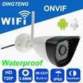 Wi-fi 720 p câmera mini Bala Visão Noturna À Prova D' Água de Segurança Ao Ar Livre câmera ONVIF P2P CCTV Cam com IR-Cut 64G cartão TF slot
