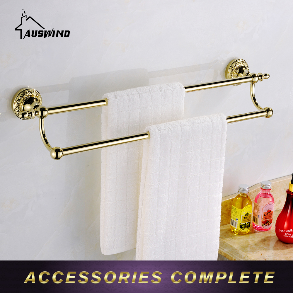 Golden Towel Rack 2 Layers Towel Bar European Style Bathroom With A Total Of Brass Antique Bathroom Accessories maideer high quality european style golden brass ceramic towel rack single towel bar bathroom accessories