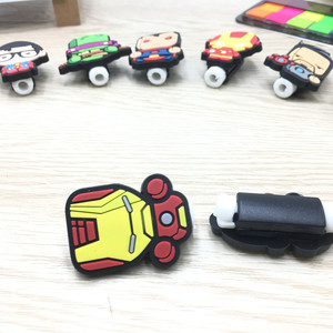 Image 4 - 200pcs Cartoon USB Cable Protector Management Data Line Organizer Clip Protetor De Cabo Cable Winder For iPhone 7 Samsung Huawei