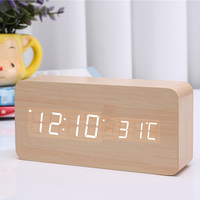 Fashion Hot LED Digital Alarm Clock Wooden Wireless Charging Charger Thermometer Voice Control @LS AU07