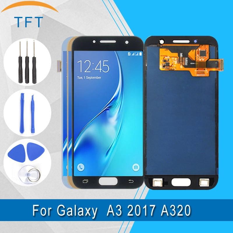 100% testé TFT LCD pour Samsung Galaxy A3 2017 A320 A320F A320Y A320M LCD affichage + écran tactile assemblage luminosité peut ajuster