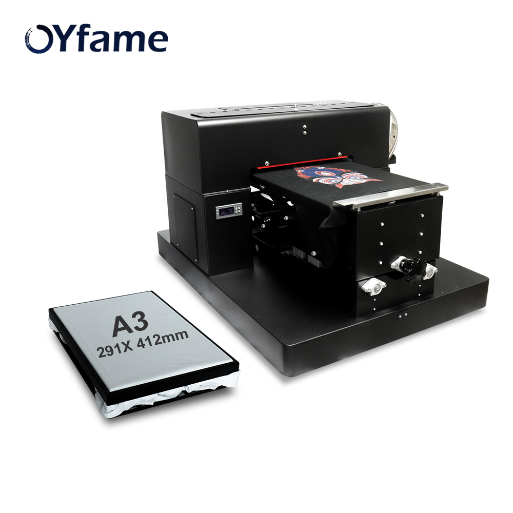 OYfame A3 Flatbed Printer T-shirt Printing Machine Multicolor A3 DTG Tshirt Printer  For T Shirt Printing  With Holder Frame