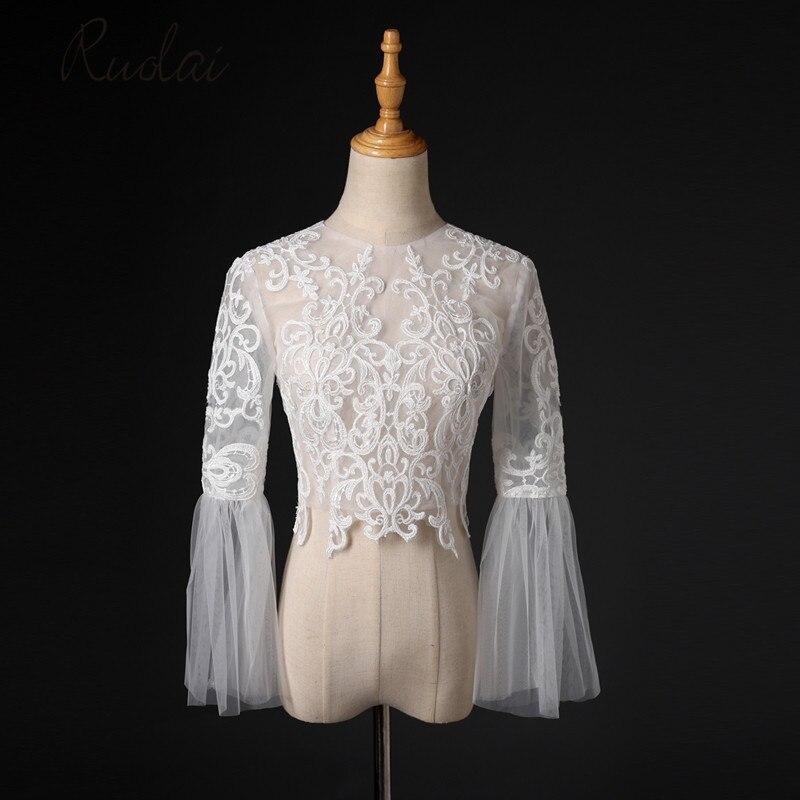 Petit size Lace Bolero Long Sleeve Wedding Bolero Formal Jacket Bridal Cape Women Jacket Tulle Wedding Coat Lace Wedding FJ41
