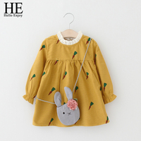 Kids Princess Dress For Girls Spring Autumn Toddler Girl Cartoon Rabbit Bag Carrots Print Long Sleeve