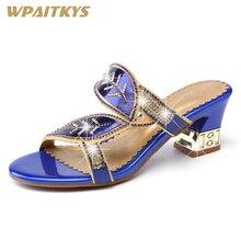 Купить с кэшбэком Women's Rhinestone High-heeled Sandals Blue Purple Two Colors Available Crystal Metal Decoration Fashion Leather Shoes Women