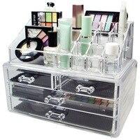 HIPSTEEN Acrylic Makeup Organizer Storage Box Case Organizer For Cosmetics Jewelry 4 Drawer Cases Holder Rangement Maquill