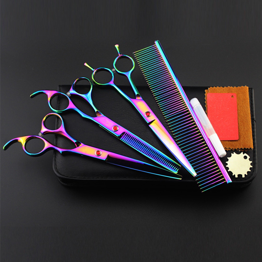 4 kit Professional japan 440c 8 inch rainbow pet dog grooming shears cutting hair scissors thinning barber hairdressing scissors 4 kit professional 8 inch pink pet grooming shears cutting hair scissors case dog grooming thinning barber hairdressing scissors