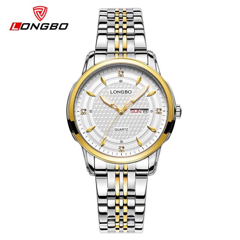 LONGBO quartz ladies wristwatch business gold dial brand luxury waterproof stainless steel watch women dress watches 5006