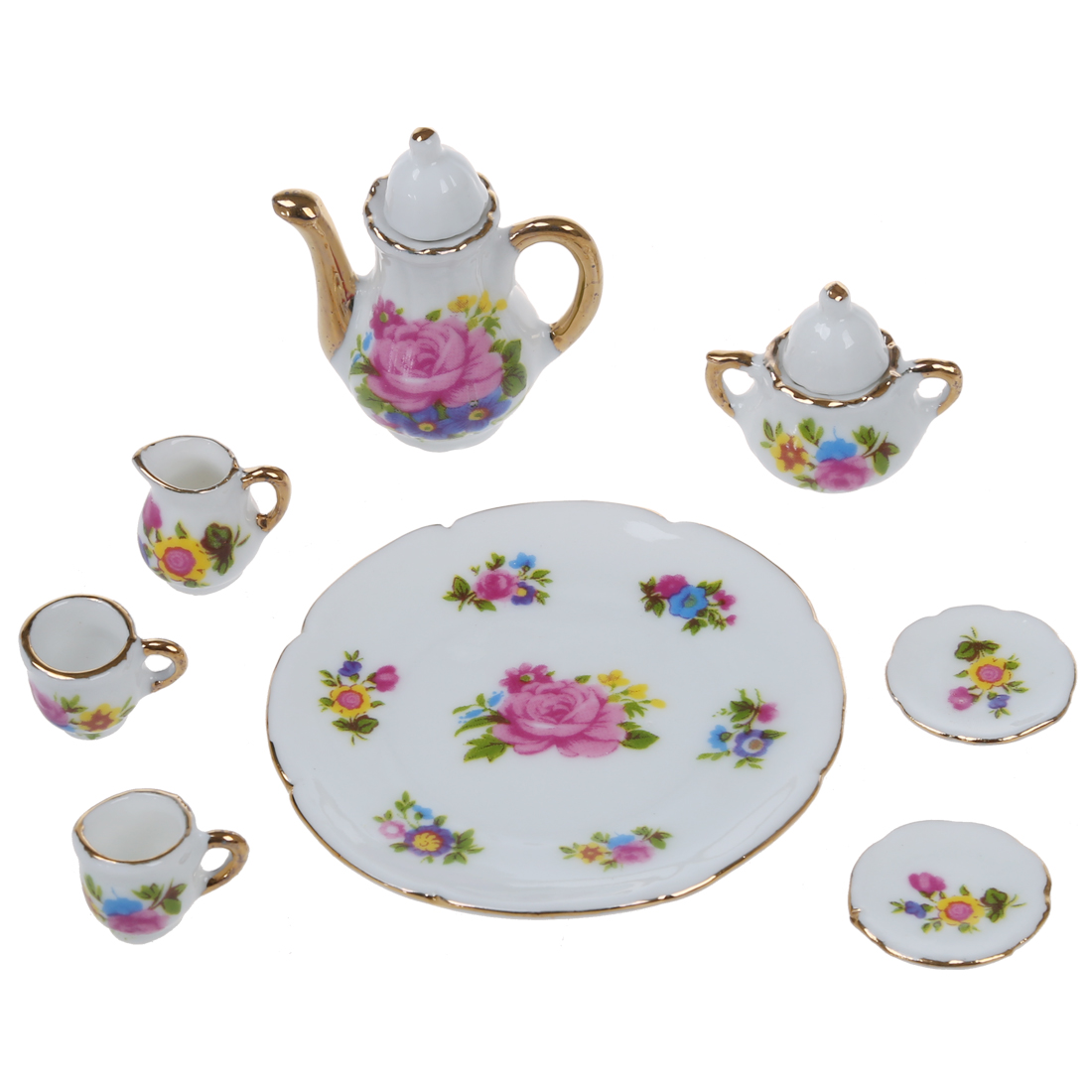 8pcs 1/6 Dollhouse Miniature Dining Ware <font><b>Porcelain</b></font> Dish/<font><b>Cup</b></font>/Plate Tea Set---Pink Rose image