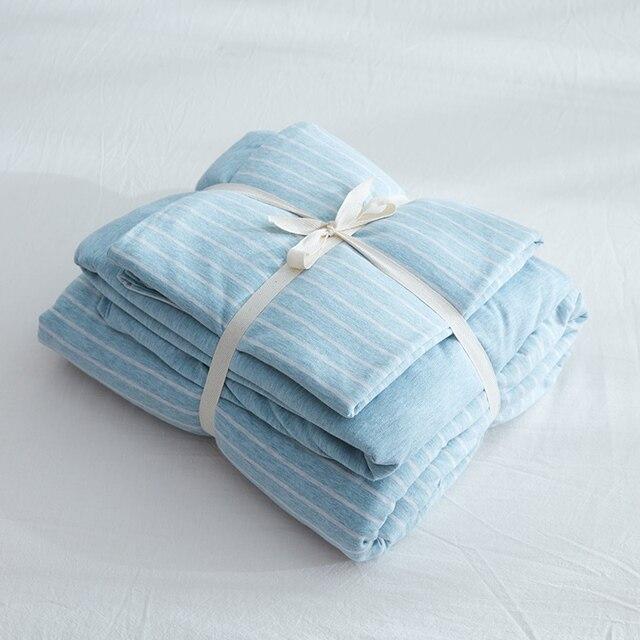 100% Cotton 4pcs Light Blue Stripe Duvet Cover Set Superb Jersey Knitted  Bedding Sets Queen