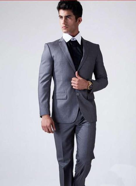 Italiano Ternos de Casamento Slim Fit Cinza Homens-Dois Botões do Casamento Do Noivo Smoking Padrinho de casamento do Terno Dos Homens 2 Peças Ternos (jaqueta + Calça)
