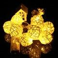 Operação da bateria Led String LED Rattan Bola LED String Decorativa Guirlanda 16ft 40 Bolas de Luz led Luzes De Natal Ao Ar Livre