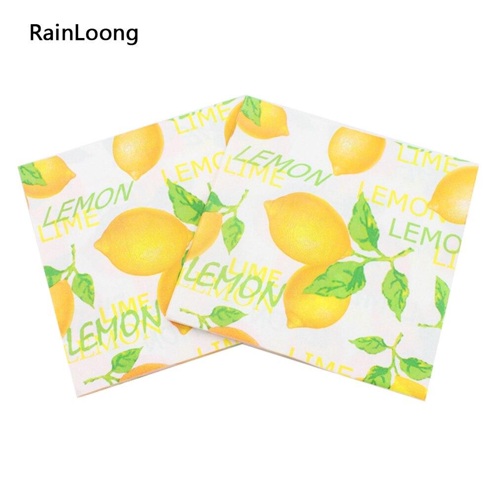 [Rainloong] lemon servilleta fruta festivo y fiesta tejido impreso orange servil