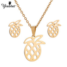 Yiustar Hollow Pineapple Large Size Jewelry Sets Beads Necklaces Earrings for Women Gold Color Micronesia Guam Hawaii Marshalls(China)