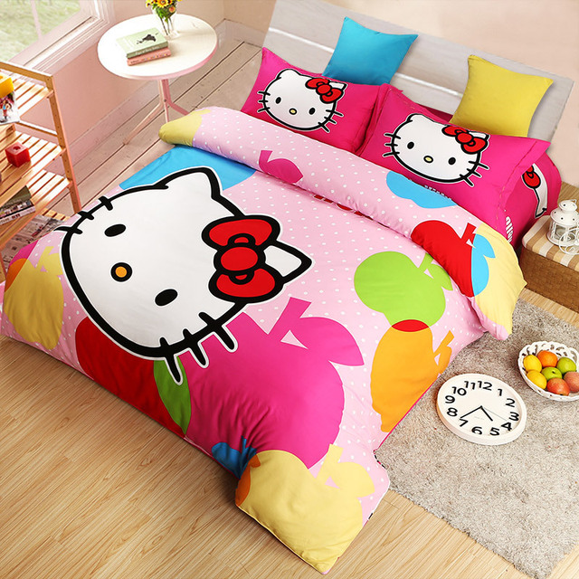 Home Textile Hello Kitty Comforter Set Single Twin Queen King Bedding Sets  Kids Girls Bedroom Sets