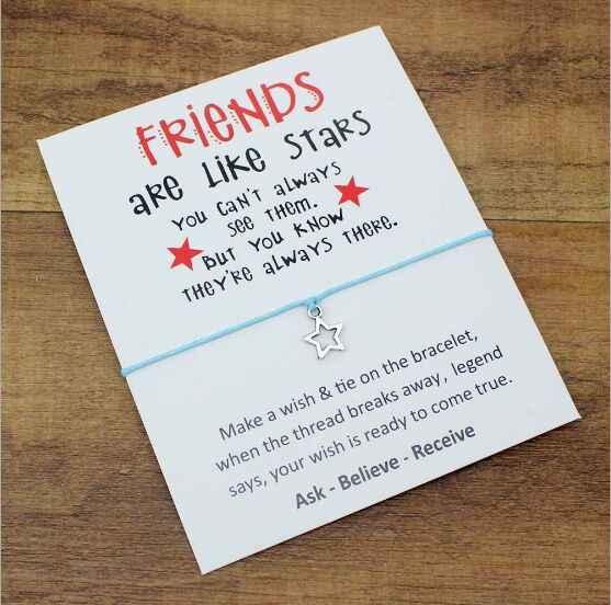 1PC nowy projekt siostry piękny Handchain karta życzeń gwiazdy bransoletka dla najlepszych przyjaciół urodziny prezenty bransoletka ze stopu życzenie 7390-7401