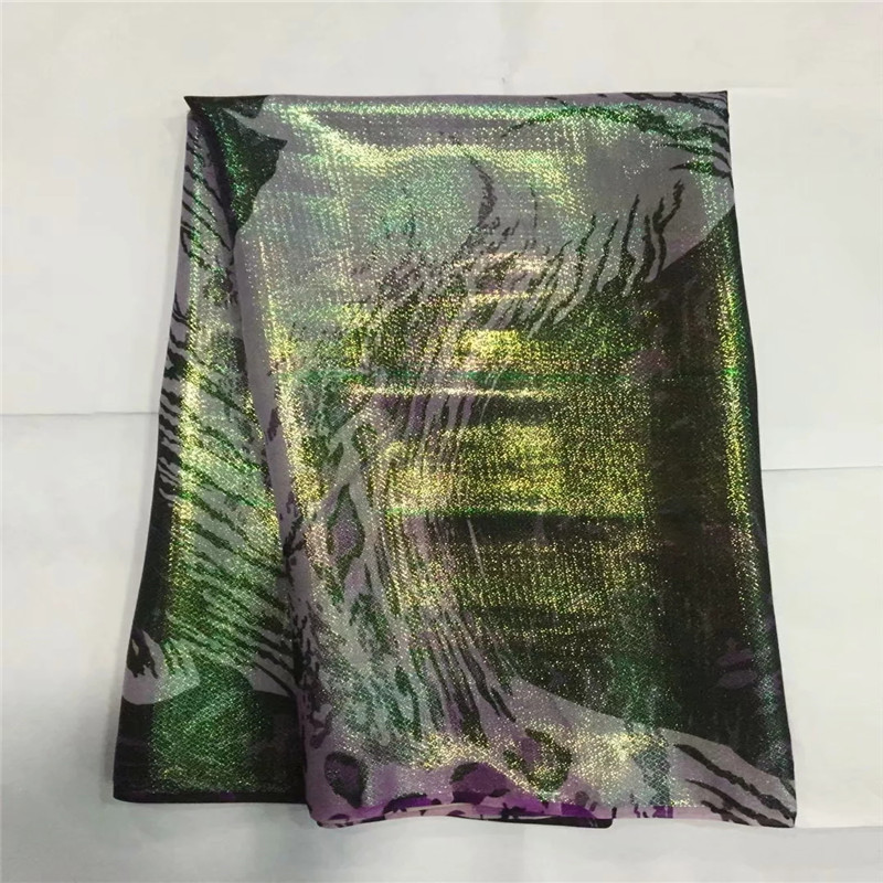 African soft silk fabric for garment neat embroidery on the gold purple satin material with swiss