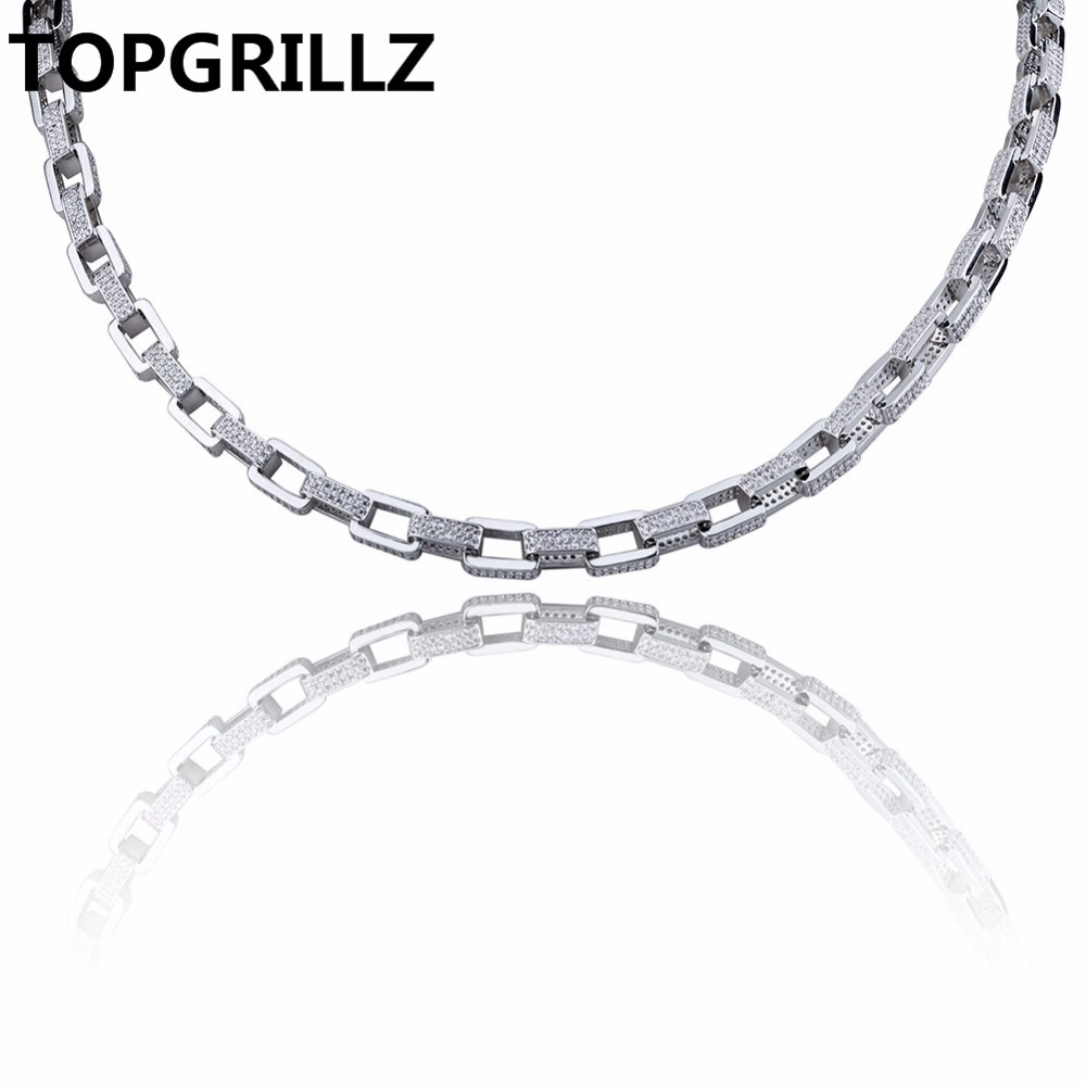 TOPGRILLZ Hip Hop Men s Jewelry Necklace Copper Gold Silver Color Plated Micro Pave CZ Stone