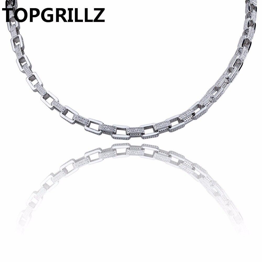 TOPGRILLZ Hip Hop męska biżuteria naszyjnik miedzi złota/srebrny kolor Plated Micro Pave CZ kamień 7mm łańcuch naszyjnik 18 cal 22 cal w Naszyjniki łańcuszkowe od Biżuteria i akcesoria na  Grupa 1