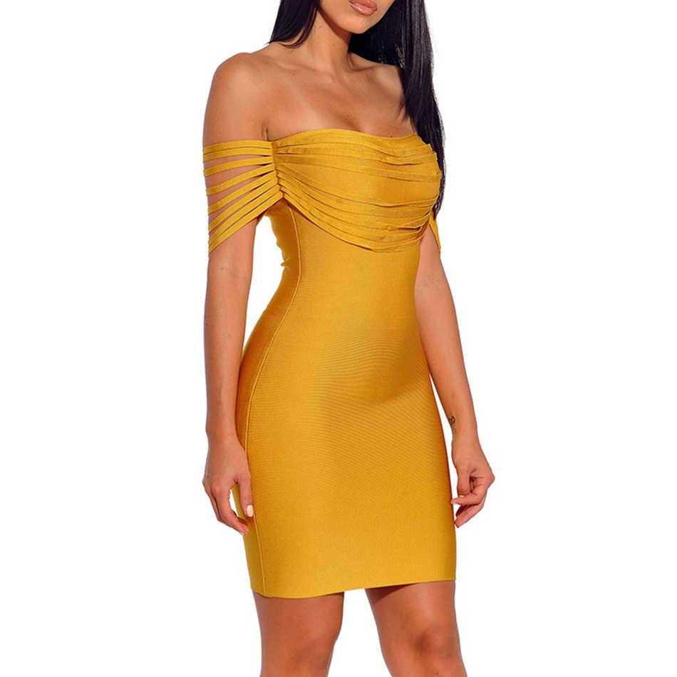 Лето 2017 г. Новый Женщины платье с коротким рукавом slash шеи бинты сексуальное обтягивающее платье знаменитости вечерние желтые платья vestidos оптовая продажа