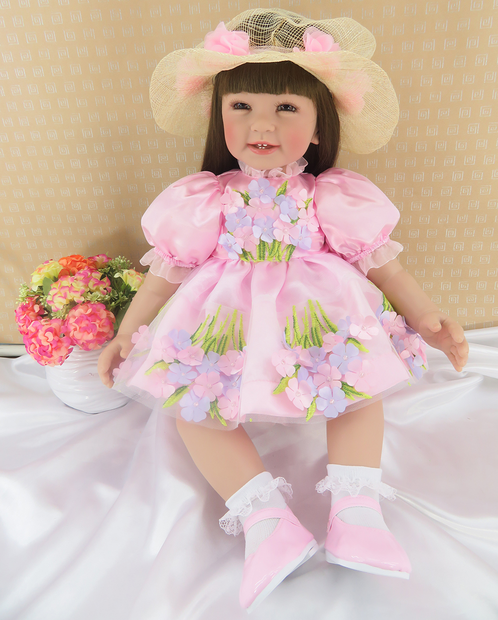Pursue 24/60 cm New Vinyl Silicone Reborn Princess Toddler Girl Doll Toys for Girls Birthday Holiday Gift Limited Edition Doll pursue 22 55cm realistic reborn babies girl doll silicone vinyl lifelike princess toddler doll toys for children girls birthday