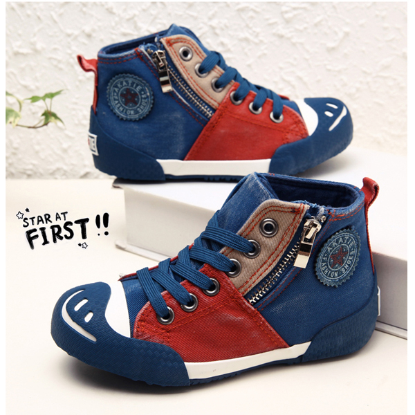 3colors Children Popular high cut canvas shoes EU30 34 side zip ...