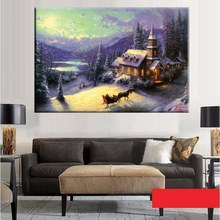 Snow Scene Beautiful Wall Art for Home Decor Thomas Kinkade Landscape Painting Carriage on Snowfield Prints Canvas Unframed