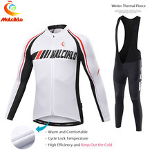 Malciklo 2017 Pro Tela Ciclismo Winter Thermal Fleece Jersey Largo Set Ropa Ciclismo Bike Ropa Bicicletas Pantalones Mantener Caliente W012