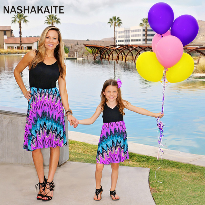 mama and daughter dress Patchwork Geomoetric Print Sleveeless Mother daughter dresses Mommy and me clothes mama hija NASHAKAITE ...