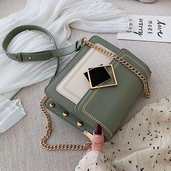 Сумка-Кроссбоди из искусственной кожи с цепочкой для женщин 2020, маленькая простая сумка через плечо, специальный замок, женские дорожные су...