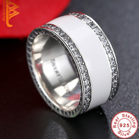 BELAWANG Anti Allergy 3 Rounds Cubic Zirconia Engagement Rings Sets 925 Sterling Silver Crystal Wedding Jewelry