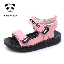 KINE PANDA 1 2 3 4 Years Old Kids Sandals Girls Boys Summer Beach Shoes Toddler Girl Boy Baby Genuine Leather Soft Anti-slide
