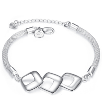 Solid Silver-Plated bracelets Classic Silver Plated Fine Jewelry Fashion Bracelet Top Quality Famous Brand Square Bracelet